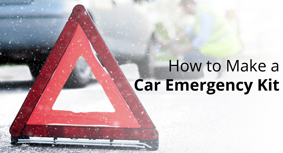 blog image of someone changing a tire on the roadside; blog title: How to Make a Car Emergency Kit